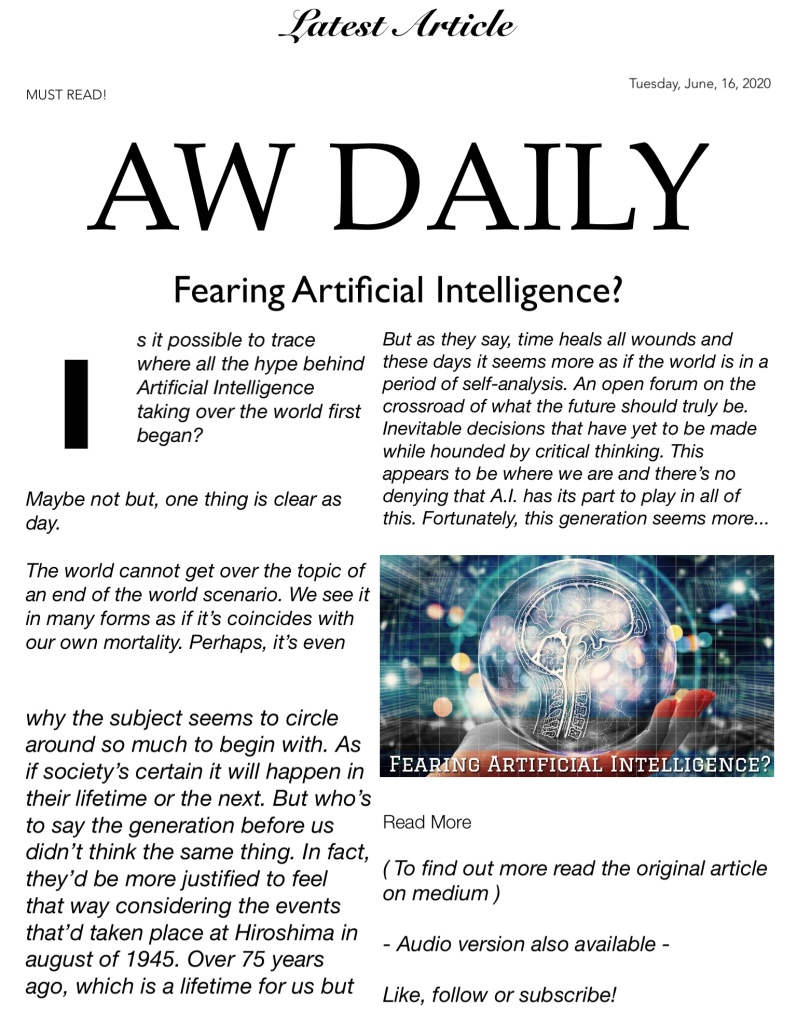 Daily Read Fearing Artificial Intelligence?