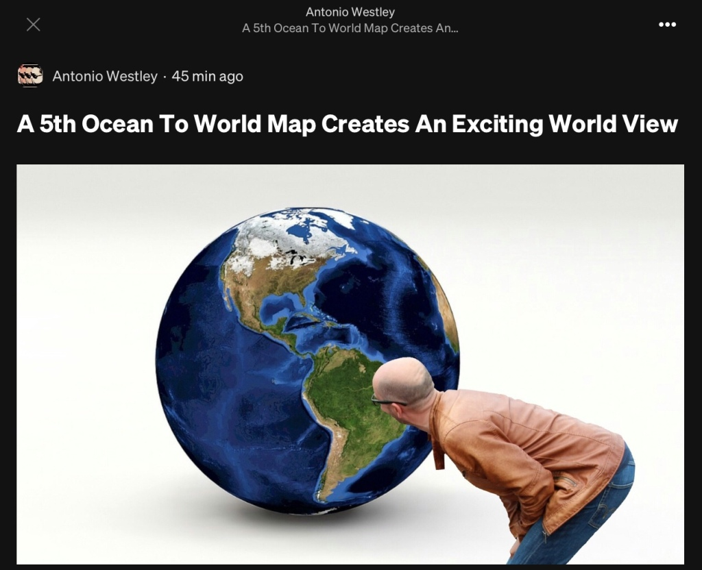 5th ocean added to world geography