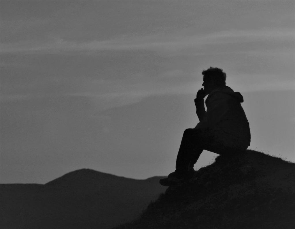 thinking on a mountain