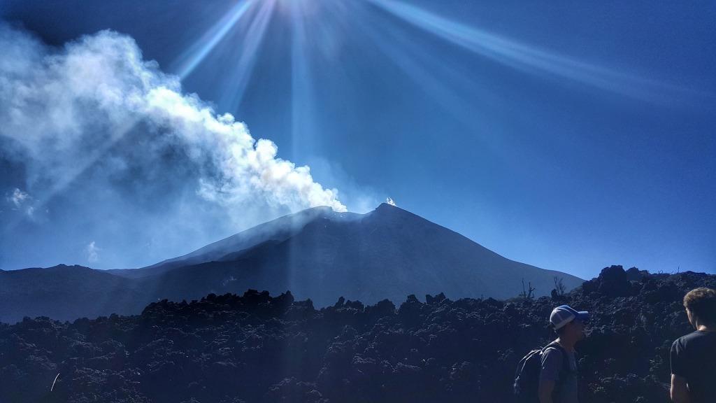 erupting volcano view